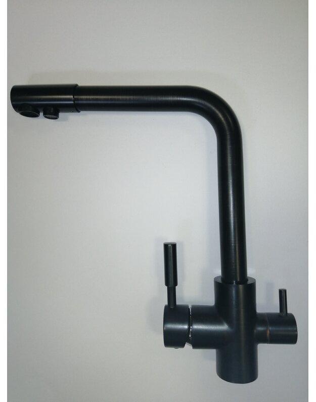 Išskirtinės juodos spalvos  maišytuvas su jungtimi geriamajam vandeniui RO sistemoms KR21BL-BR